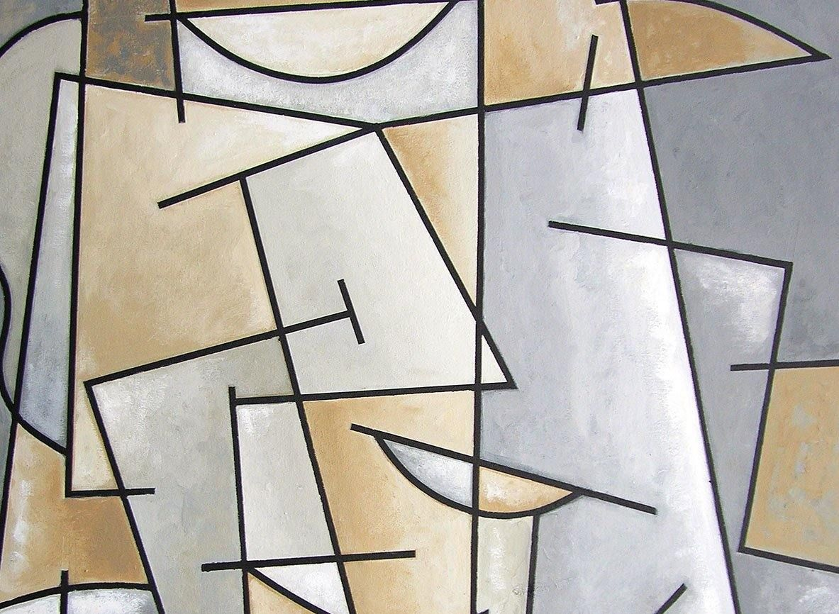 Close-up detail. Cubist Art Painting of a Man with Hat