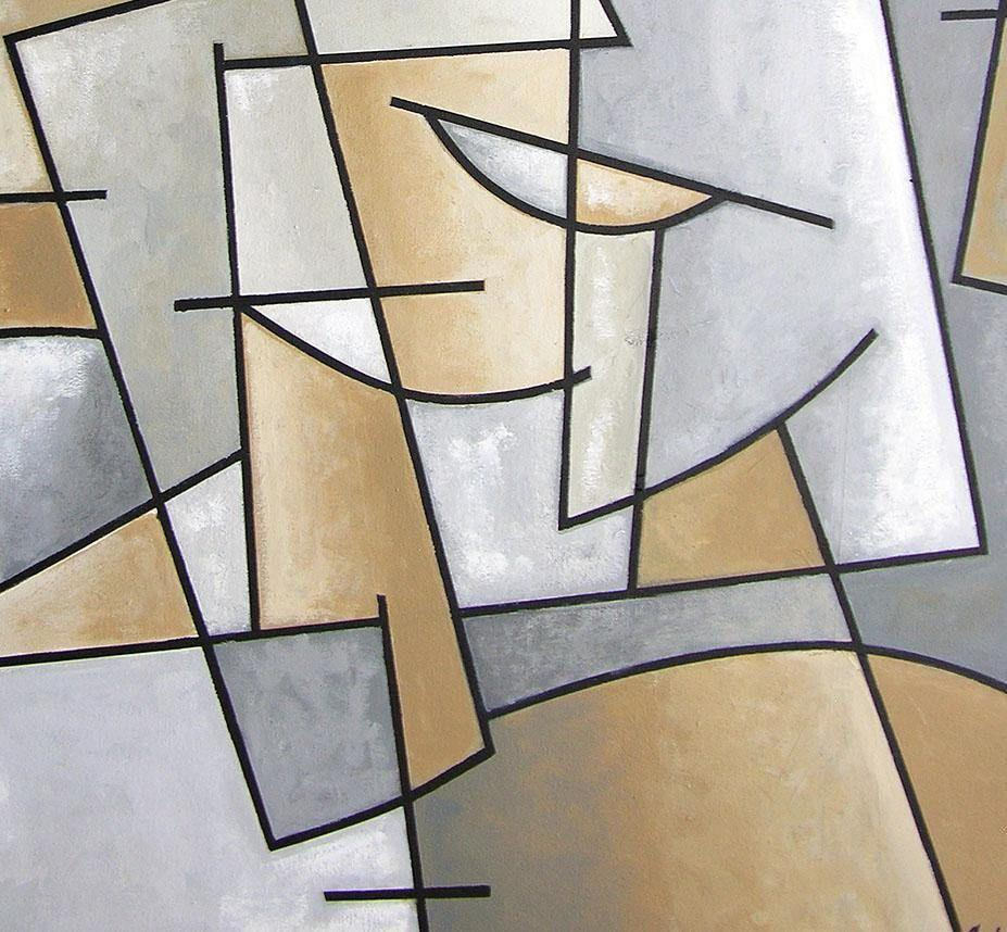 Close-up detail 2. Cubist Art Painting of a Man with Hat