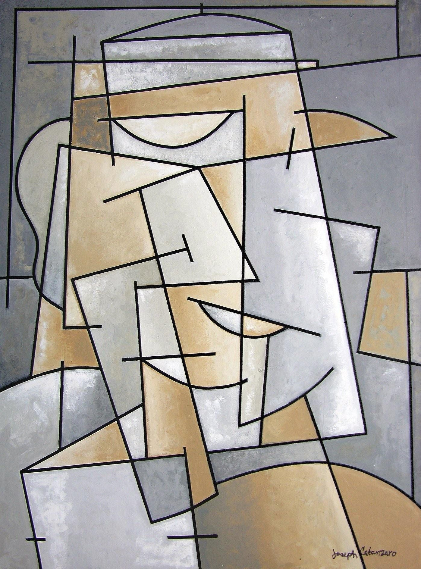 Cubist Art Painting of a Man with Hat in grays and tan