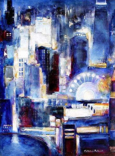 An original painting of Chicago on canvas. Painting of Navy Pier - Chicago