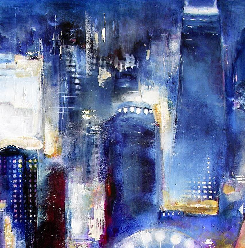 "Painting of Chicago- ""Navy Pier Skyline"" - 48"" x 36"" x 1.5"" - SOLD"