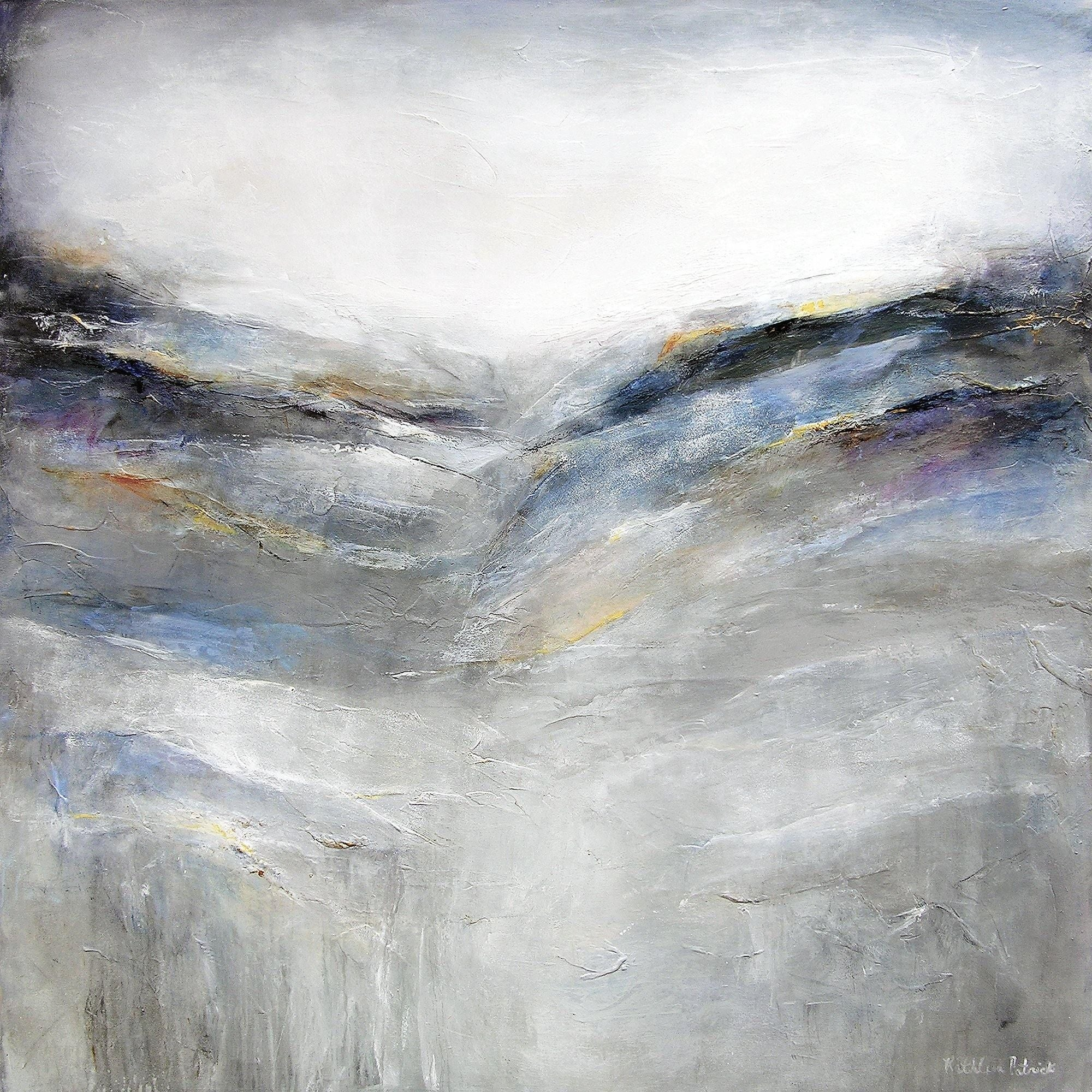 "Large Abstract Landscape Painting in Gray -  48""x 48"" - ""In the Distance"""