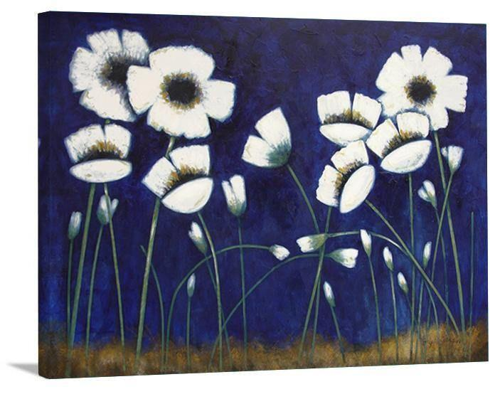 "White Poppy Canvas Print - ""Poppies at Night"""