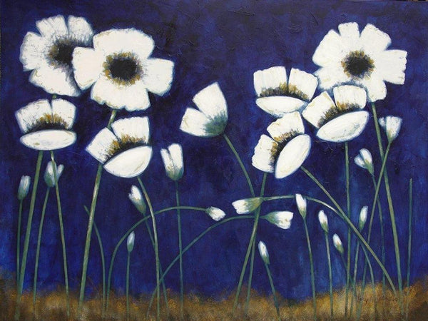 "White Poppy Print on Canvas - ""Poppies at Night"""