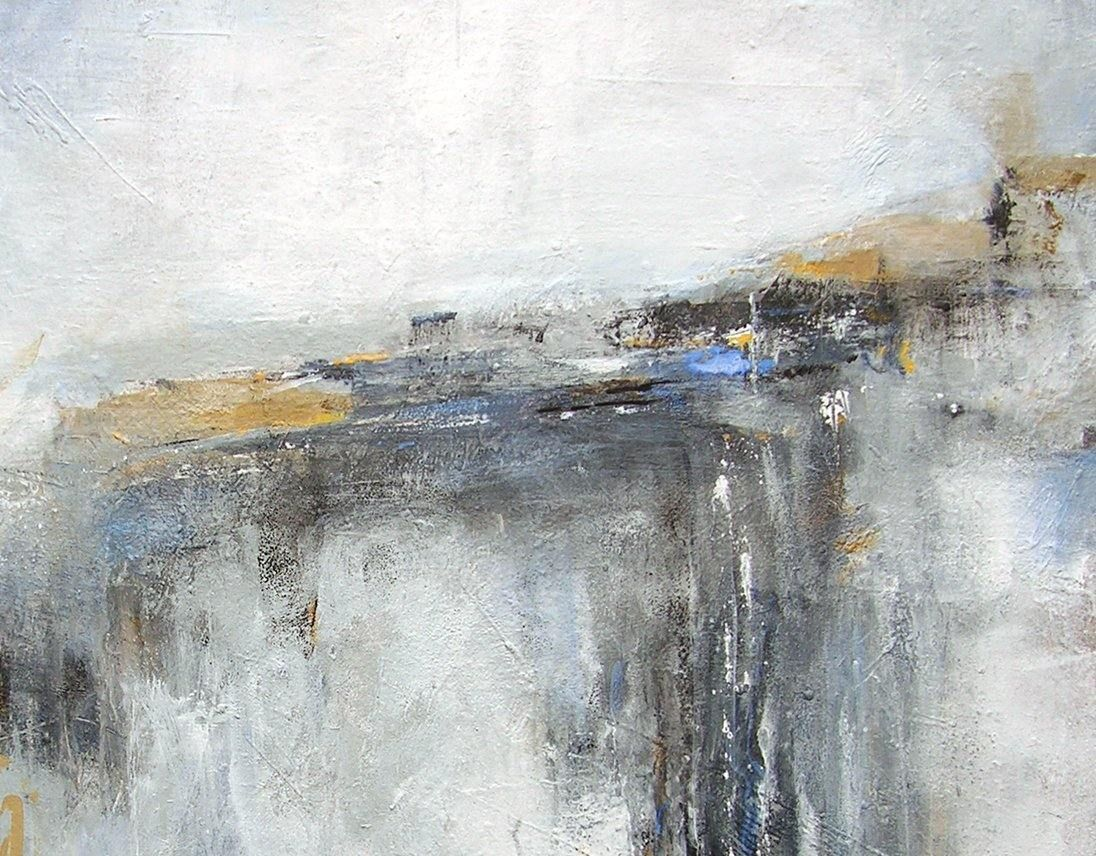Large neutral abstract landscape painting - detail