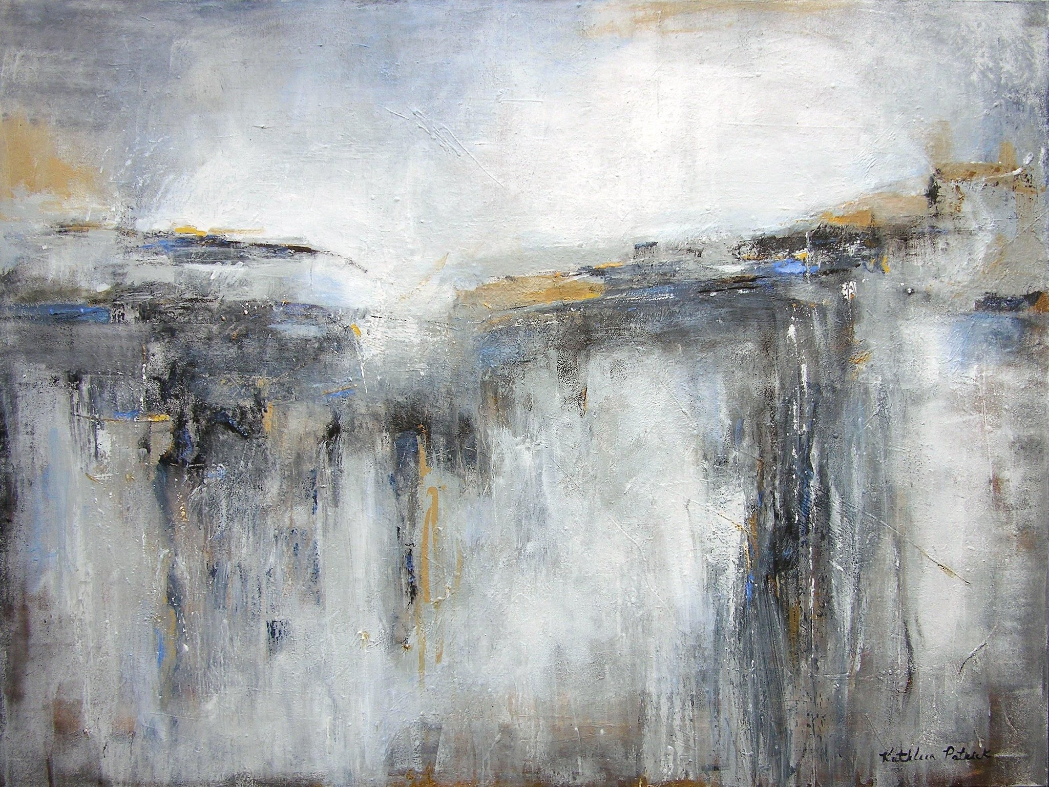 Large neutral abstract landscape painting in gray, black, and white