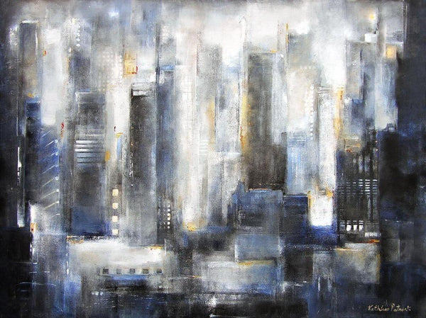 Abstract Skyline Print on Canvas in Neutral Colors