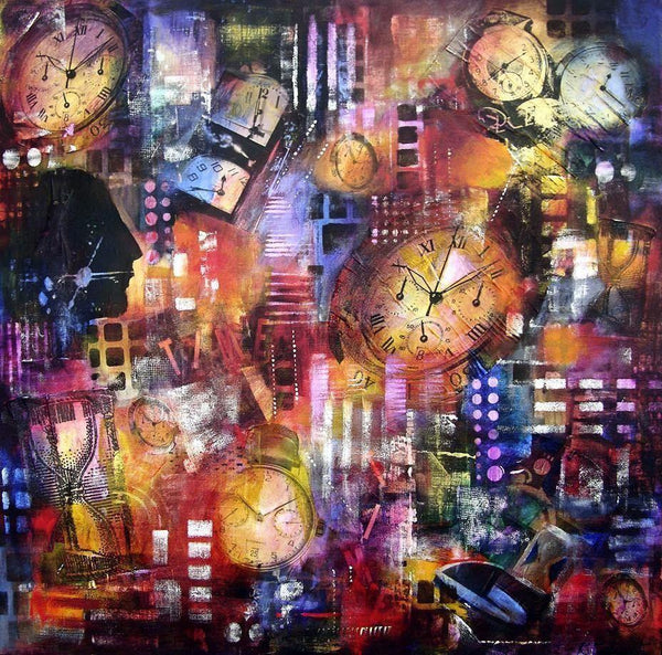 Colorful canvas art print about time and clocks