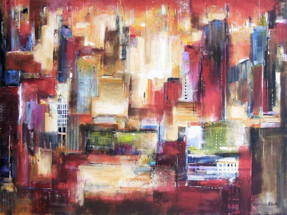 buy abstract cityscape art - abstract skyline artwork  canvas art
