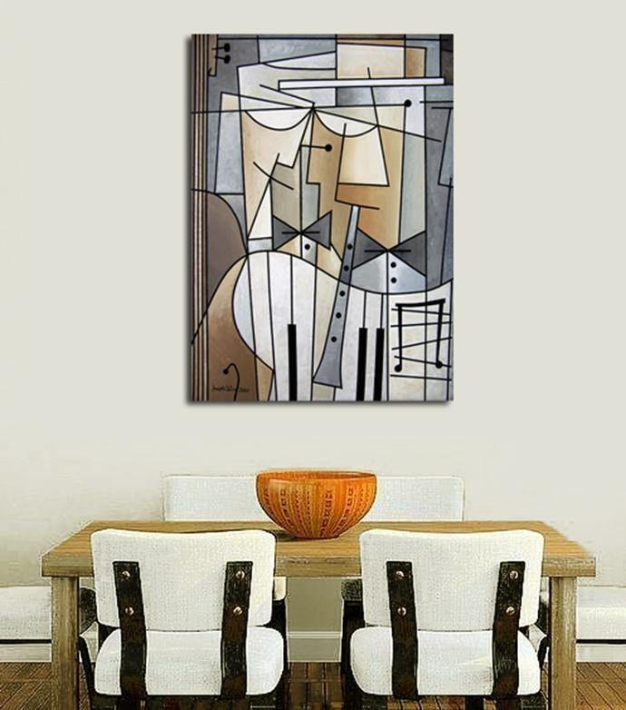 "Neutral Abstract Music Painting - ""Three Musicians"""
