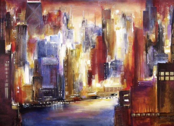 Chicago Skyline Art - Painting of Chicago - Canvas Print