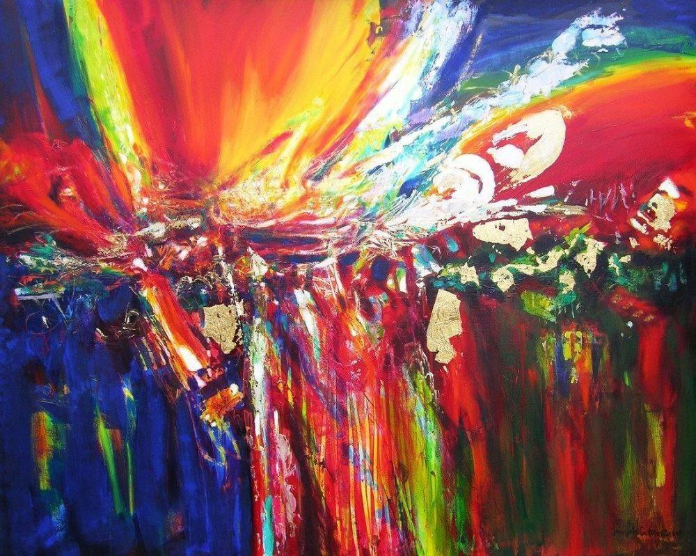 Bright Colored Abstract Art Painting Print On Canvas