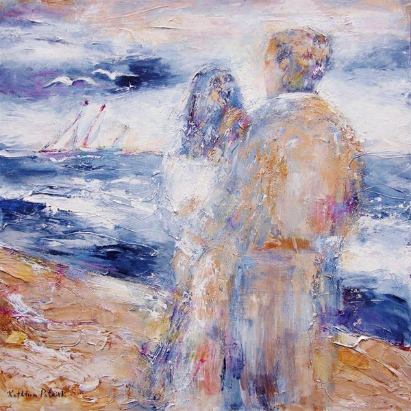 "Contemporary Seashore Art Print - Couple at the Beach - ""Down By the Sea"""