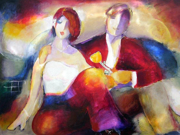 "Contemporary Romantic Couple  Print on Canvas - ""One Flower"""