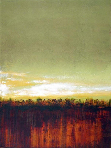 RICHLY COLORED LANDSCAPE ARTWORK IN RUST, GREEN AND GOLD