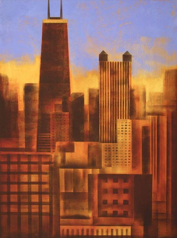Painting of Chicago at sunset.