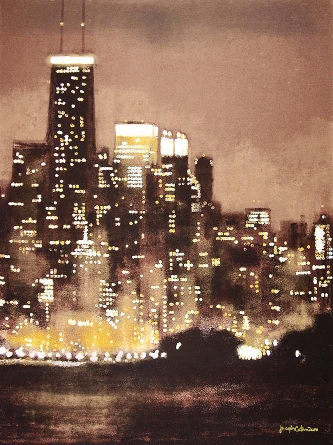Chicago Skyline at Night Painting Print