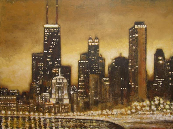 Chicago skyline painting.