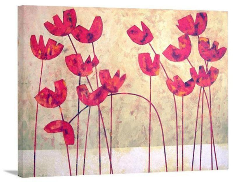 "Poppy Canvas Print - ""Red Hot Poppies"" - Chicago Skyline Art"