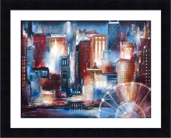 Black Framed Print of Chicago skyline.