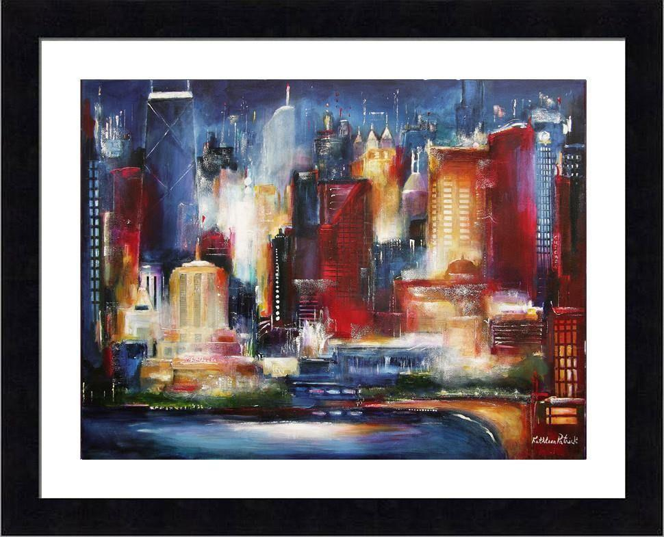 "Black Framed Skyline Print  - ""Chicago - The Oak Beach Skyline"""