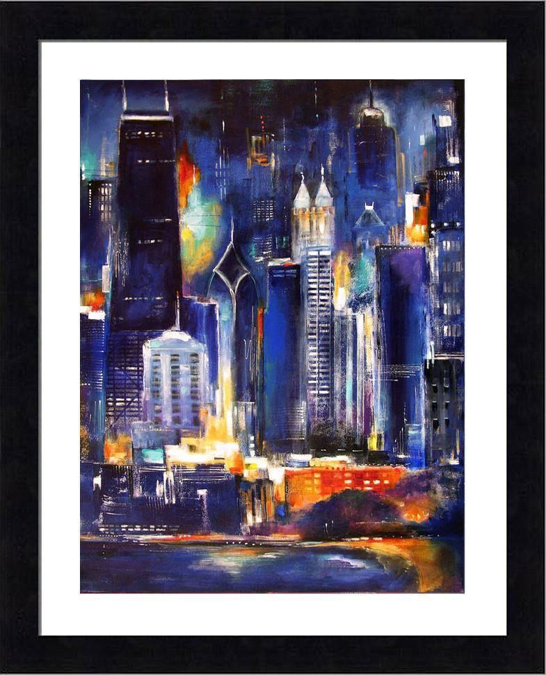 "Black Framed Print  - ""Oak Beach Skyline at Night"""