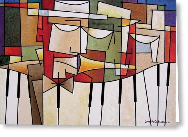 Cubist Music Art Greeting Cards