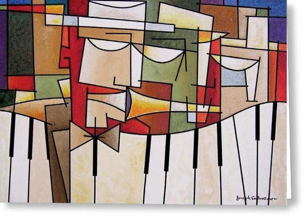 Cubist Music Art Greeting Cards - Chicago Skyline Art