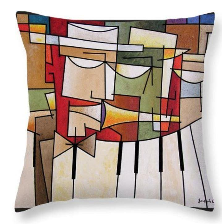 Cubist Music Art Throw Pillow