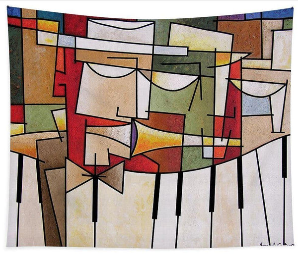 Large Cubist Music Art Tapestry