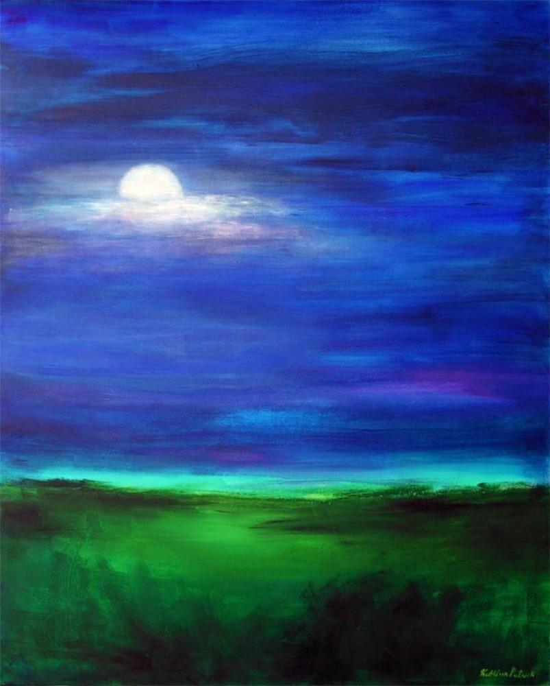 Moonscape painting canvas print
