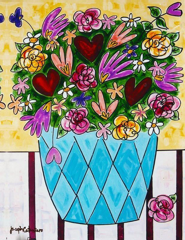 "FRAMED FINE ART PRINT- ""Glowing Hearts - Love Bouquet"" #1"