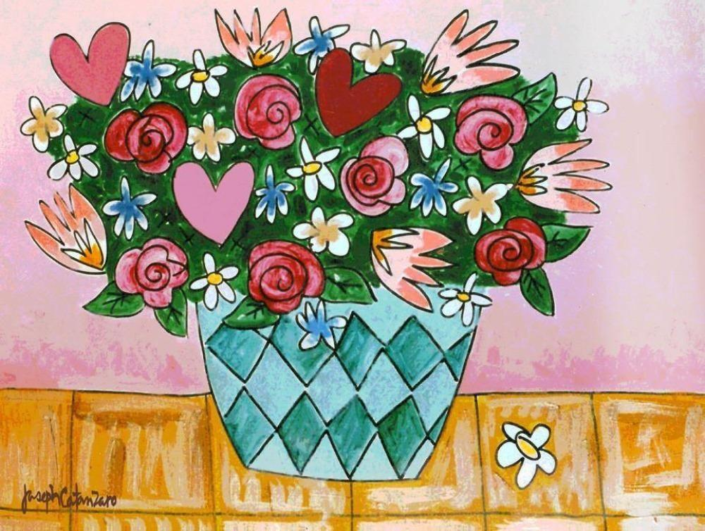 """I Love Pink - Love Bouquet"" - Art Painting Print"