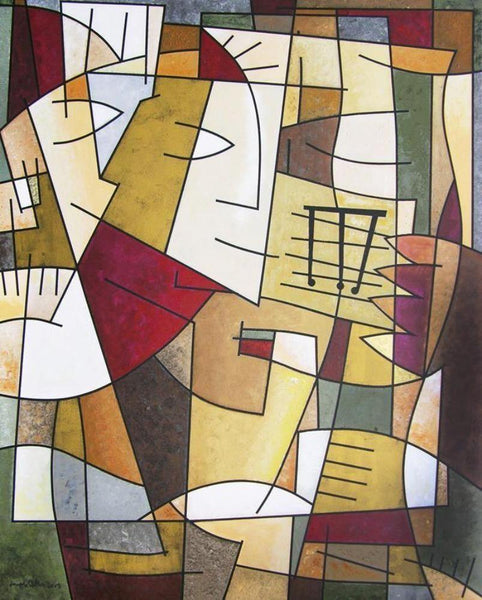 This original cubist abstract painting by Chicago artist Joseph Catanzaro is now available as a limited edition canvas wrap print in multiple sizes.
