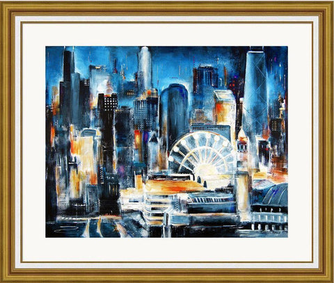 Chicago Navy Pier Framed Print - Gold Frame with white liner