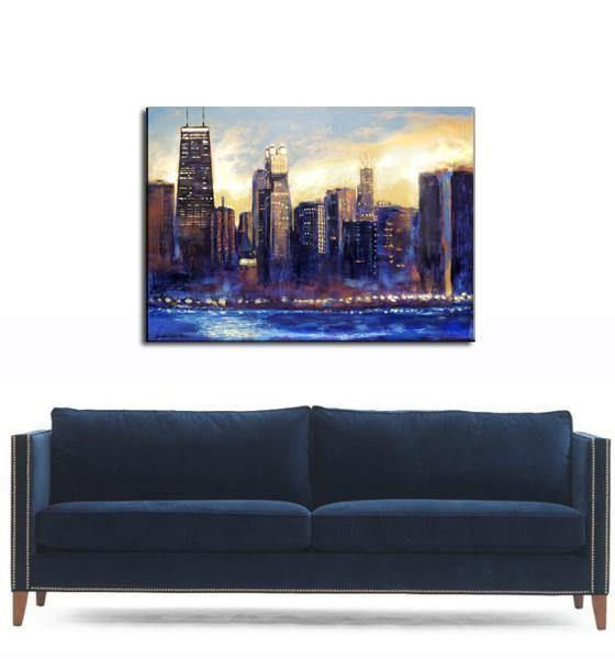 Chicago Skyline Canvas Art Print over a blue sofa.