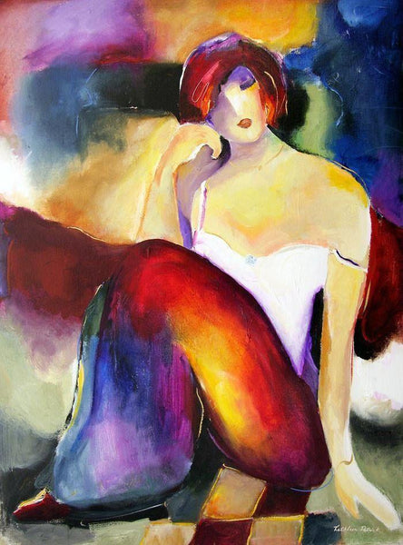 "Seated Woman Figurative Canvas Print - ""Contemplation"""