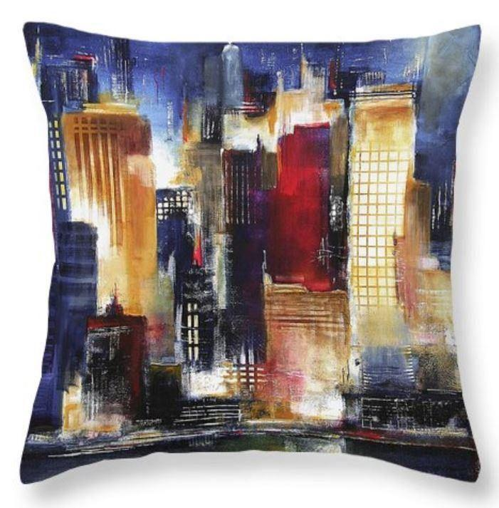 Chicago Skyline at Night Art Throw Pillow