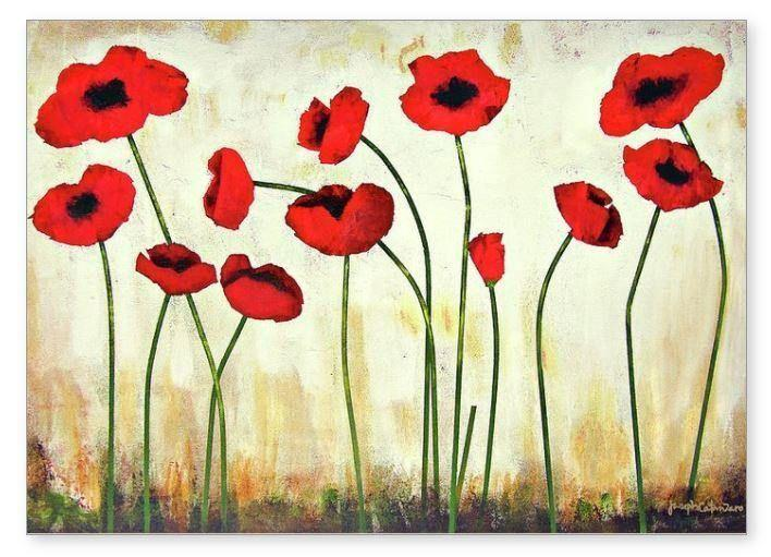 Red Poppy Art Greeting Cards