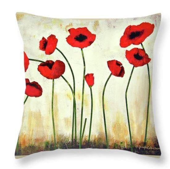 Red Poppy Art Throw Pillow - Chicago Skyline Art