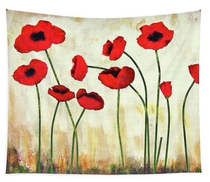 Large Red Poppy Art Tapestry