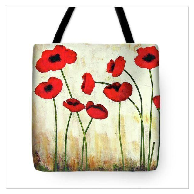 Red Poppy Art Tote Bag