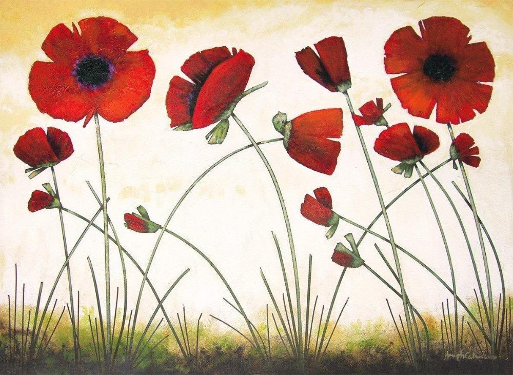 Original Poppy Painting Print on Canvas