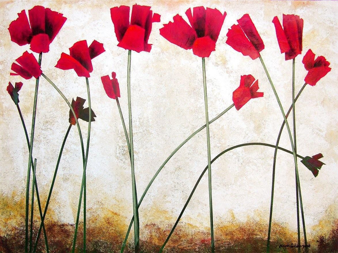"Red Poppy Painting Print - ""Bright Red Flowers in the Sun"""