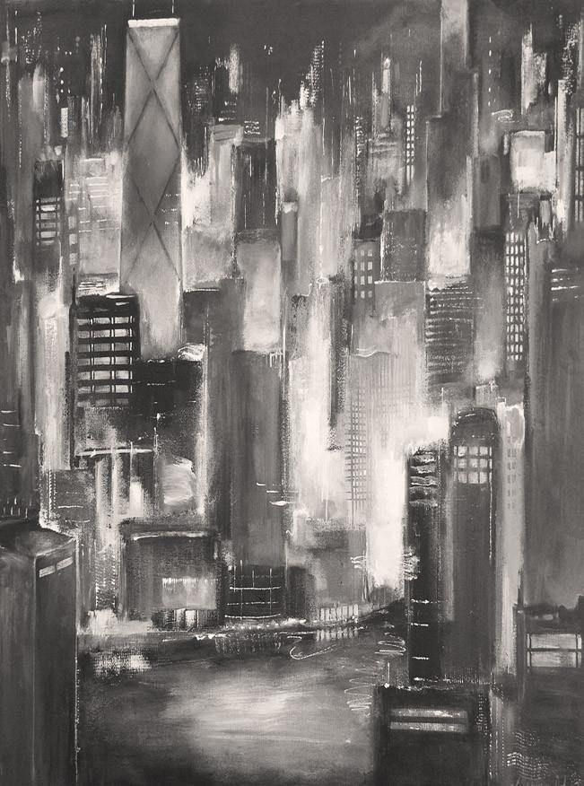 Chicago skyline view along the river -  art painting created with only black and white paints