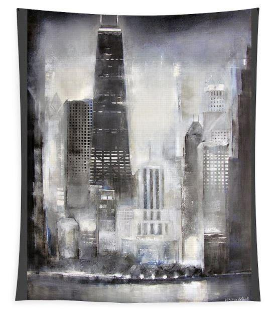 Large Chicago Shoreline Art Tapestry