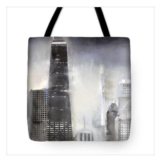 Chicago Shoreline Art Tote Bag