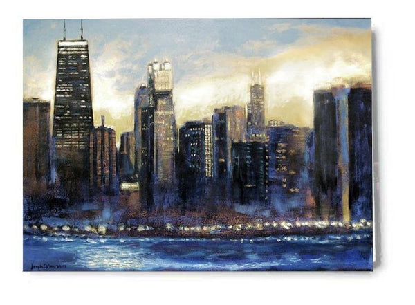 Sunset Chicago Skyline Art Greeting Cards