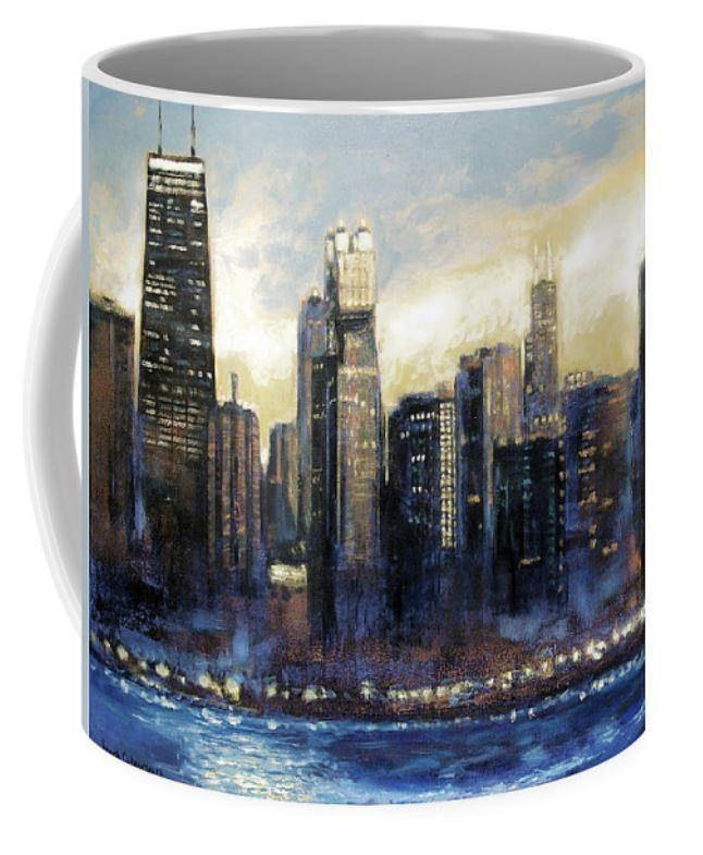 Sunset Chicago Skyline Art Coffee Mug