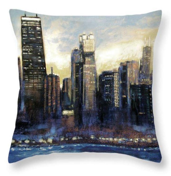 Sunset Chicago Skyline Art Throw Pillow